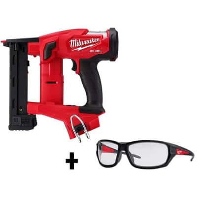 M18 FUEL 1/4 in. 18-Volt 18-Gauge Lithium-Ion Brushless Narrow Crown Stapler and Clear Performance Safety Glasses