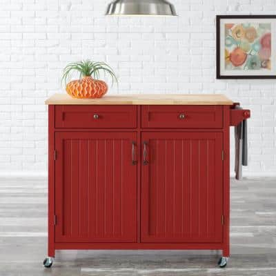 Bainport Chili Red Kitchen Cart with Butcher Block Top