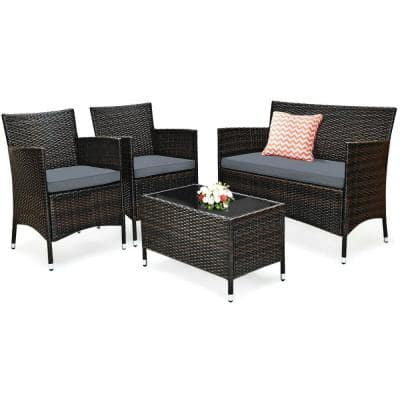 4-Piece Metal Wicker Patio Conversation Set with Gray Cushions