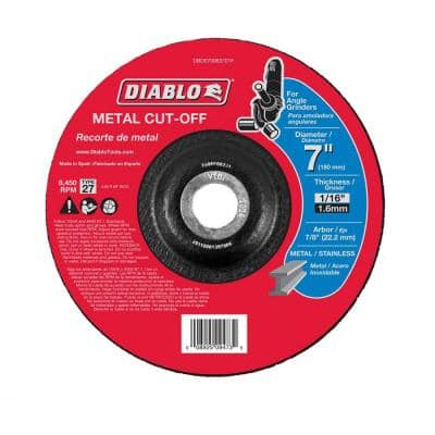 7 in. x 1/16 in. x 7/8 in. Metal Cut-Off Disc with Type 27 Depressed Center