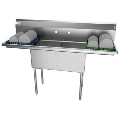 60 in. Freestanding Stainless Steel 2 Compartments Commercial Sink with Drainboard