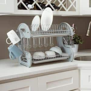 Grey S Shape 2-Tier Dish Rack