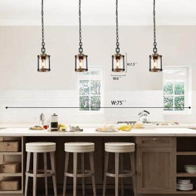 1-Light Modern Farmhouse Black Pendant Transitional Mini Drum Island Pendant with Seeded Glass and Faux Wood Accents