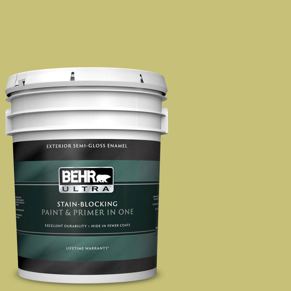 Behr Ultra 5 Gal Ppu9 07 Fresh Sprout Semi Gloss Enamel Exterior Paint And Primer In One 585405 The Home Depot