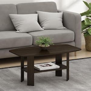 Simple 36 in. Dark Brown Medium Rectangle Wood Coffee Table with Shelf