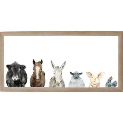 Farm Animals, Rustic Brown Frame, Magnetic Memo Board