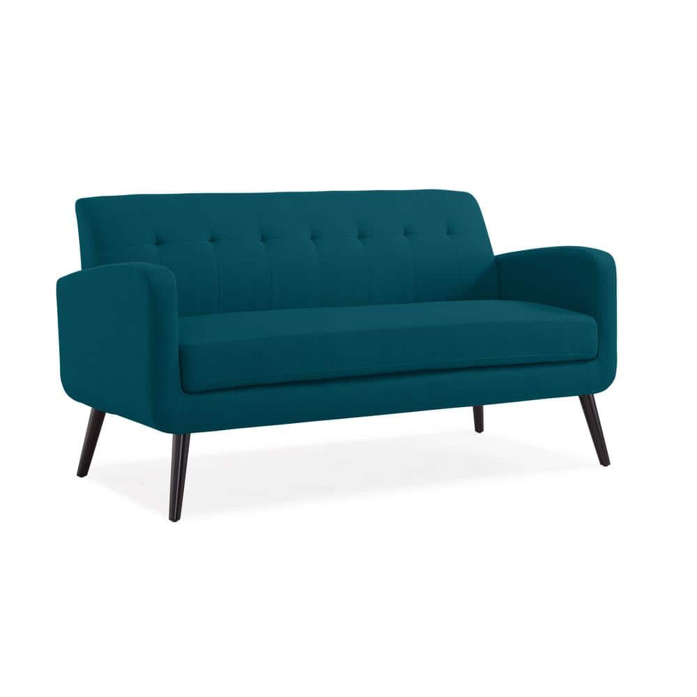 Handy Living Werner Mid Century Modern Sofa In Peacock Blue Linen With Dark Espresso Legs A156844 The Home Depot