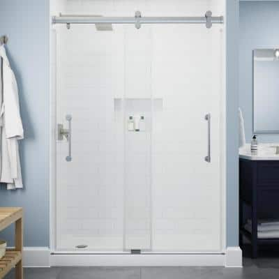 Paxos 60 in. W x 76 in. H Sliding Frameless Shower Door in Chrome with 5/16 in. (8 mm) Clear Glass