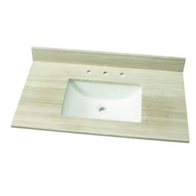 37 in. W Marble Single Vanity Top in White Oak with White Sink