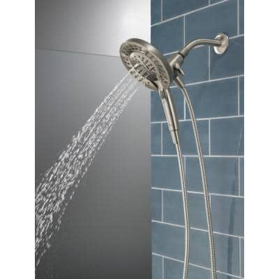 In2ition Two-in-One 5-Spray Patterns 6.63 in. Wall Mount Dual Shower Heads in Brushed Nickel