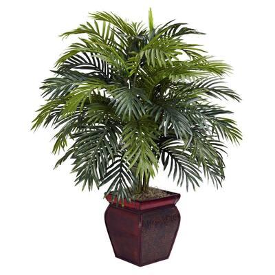 38 in. H Green Areca with Decorative Planter Silk Plant