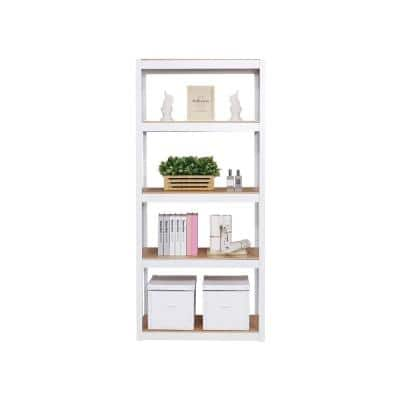 Kepsuul 77 in. White Wood 4 Shelf Standard Bookcase with Adjustable Shelves