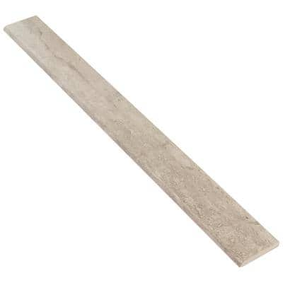 Essential Travertine Taupe 2.24 in. x 23.50 in. Matte Porcelain Floor and Wall Bullnose Tile