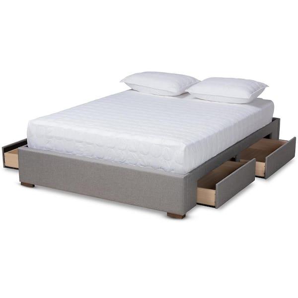Baxton Studio Leni Gray Queen Platform, Platform Bed Frame With Storage Queen
