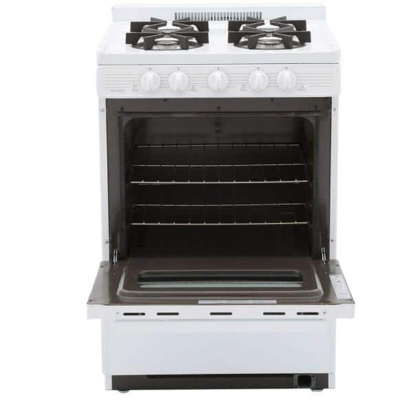 Premier 24 In 2 97 Cu Ft Battery Spark Ignition Gas Range In White Bjk5x0op The Home Depot
