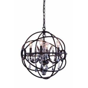 Timeless Home 17 in. L x 17 in. W x 19.5 in. H 4-Light Dark Bronze with Silver Shade Crystal Contemporary Pendant