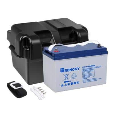 12-Volt 100 Ah Deep Cycle Hybrid GEL Battery with Battery Box for RV, Solar Marine and Off-Grid Applications