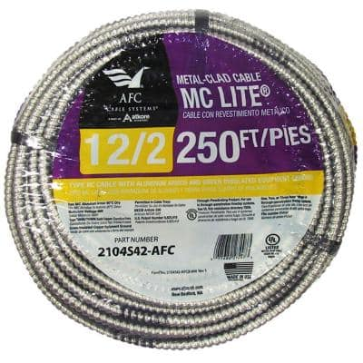 12/2 x 250 ft. Solid MC Lite Cable