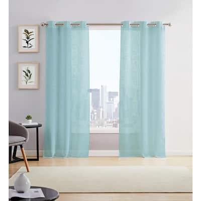 Aqua Solid Grommet Sheer Curtain - 38 in. W x 96 in. L (Set of 2)