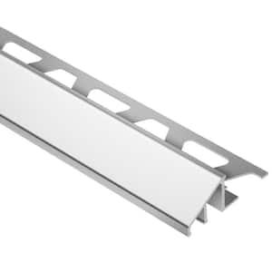 Reno-U Bright Chrome Anodized Aluminum 1/2 in. x 8 ft. 2-1/2 in. Metal Reducer Tile Edging Trim