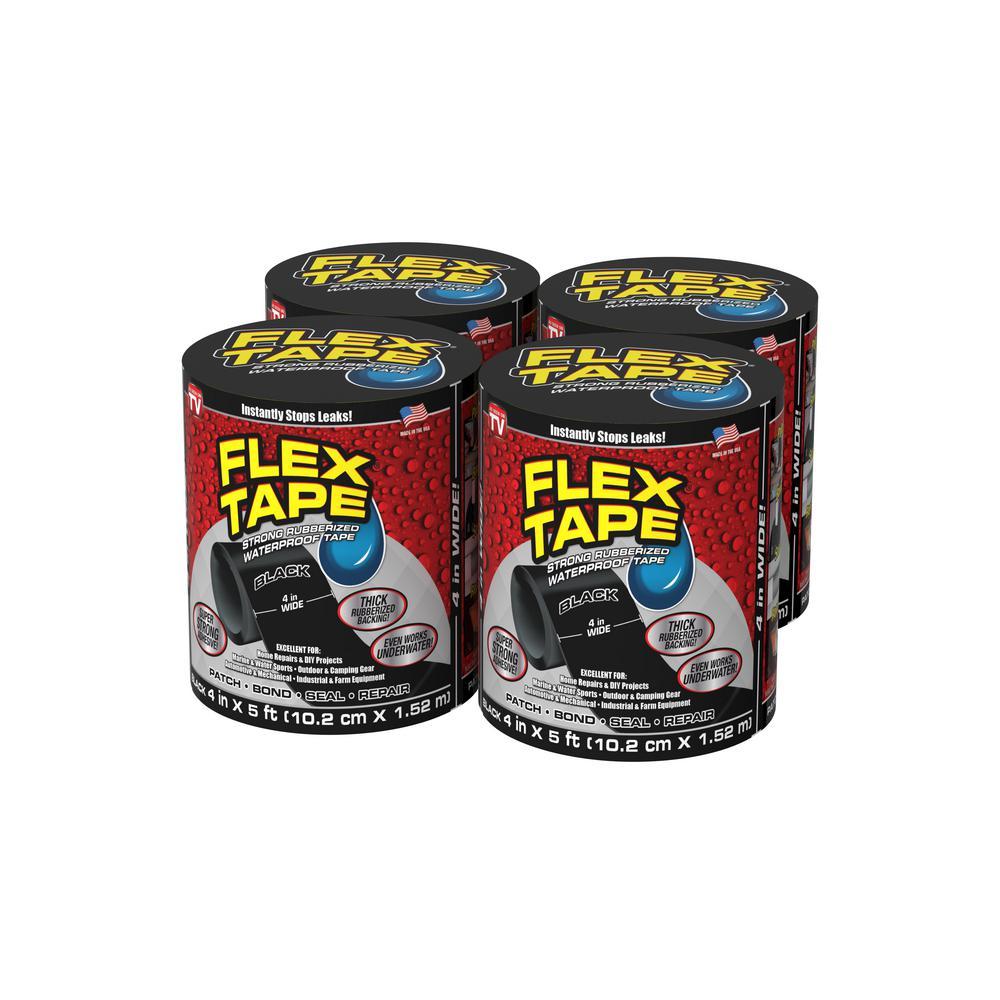 Flex Tape Black 4 in. x 5 ft. Strong Rubberized Waterproof Tape (4-Piece)