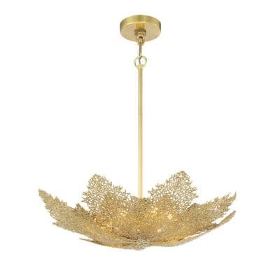 Evergold 3-Watt Integrated LED India Gold Leaf Artistic Pendant with Vintage Brass Casting