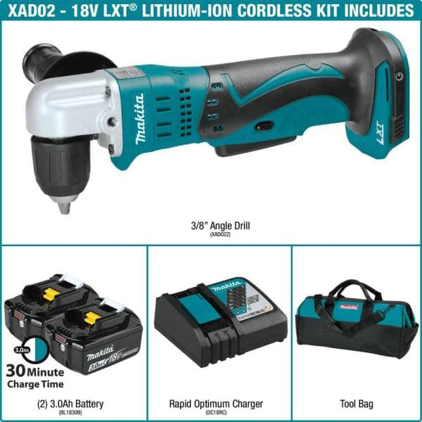 Makita 18 Volt Lxt Lithium Ion 3 8 In Cordless Angle Drill Kit With 2 Batteries 3 0ah Charger Tool Bag Xad02 The Home Depot