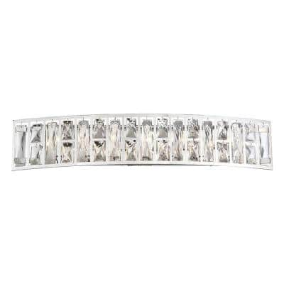Kristella 29.5 in. 7-Light Chrome Vanity Light with Clear Crystal Shade