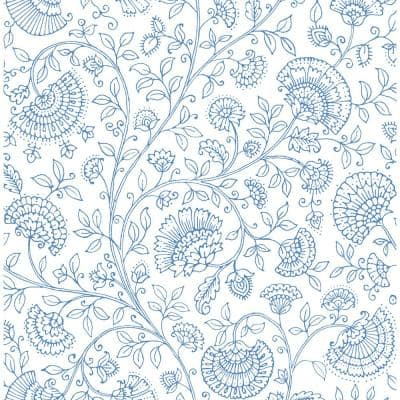 Blue Bell Paisley Trail Bohemian Peel and Stick Wallpaper 30.75 sq. ft.