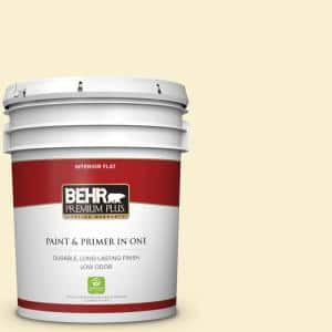 Behr Premium Plus 5 Gal Yl W03 Honied White Flat Low Odor Interior Paint And Primer In One 105005 The Home Depot