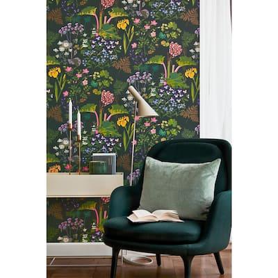 Rabarber Charcoal Floral Charcoal Wallpaper Sample