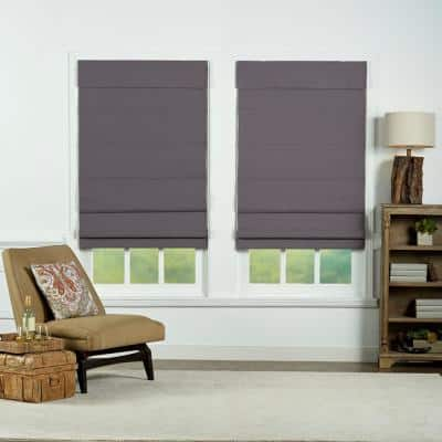 Gray Cordless Blackout Energy-Efficient Cotton Roman Shades 59 in. W x 72 in. L