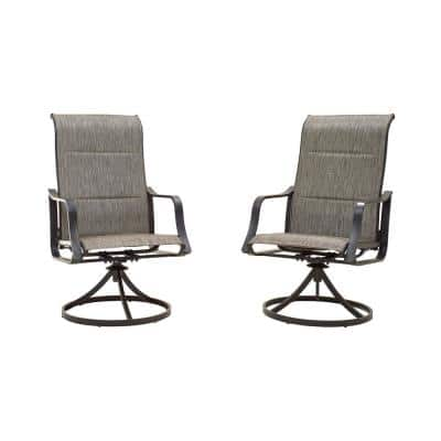 Swivel Padded Sling Outdoor Dining Chair in Gray (2-Pack)