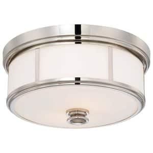 2-Light Polished Nickel Flush Mount