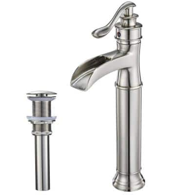 Waterfall Single Hole Single-Handle Vessel Bathroom Faucet With Pop-up Drain Assembly in Brushed Nickel
