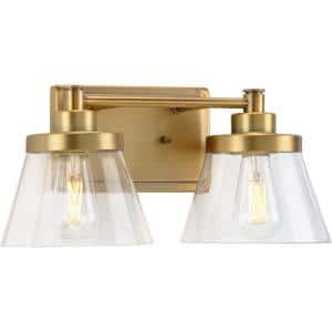 Hinton Collection 15.5 in. 2-Light Vintage Brass Clear Seeded Glass Farmhouse Bath Vanity Light