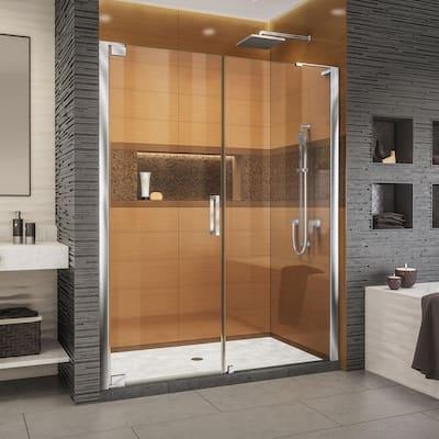 Elegance-LS 58-1/2 in. to 60-1/2 in. W x 72 in. H Frameless Pivot Shower Door in Chrome