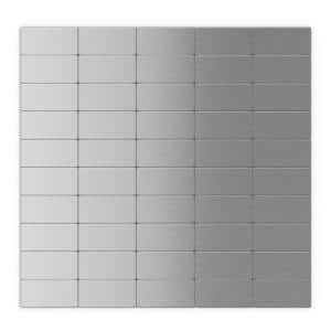 Subway Silver Stainless Steel 12.2 in. x 11.81 in. x 5mm Metal Peel and Stick Wall Mosaic Tile