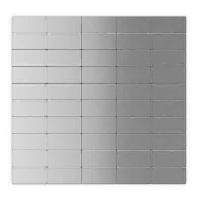 Subway Silver Stainless Steel 12.2 in. x 11.81 in. x 5mm Metal Peel and Stick Wall Mosaic Tile (6 sq. ft. / Case)