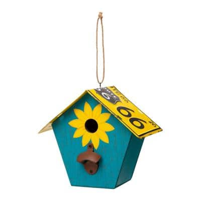 10.75 in. L Blue Wood/Metal Licence Plates Birdhouse
