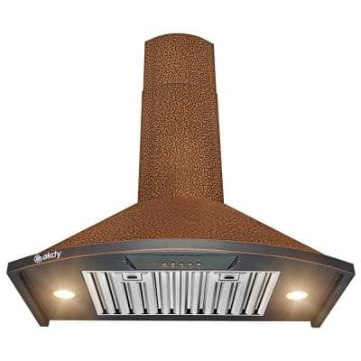 30 in. 343 CFM Convertible Kitchen Wall Mount Range Hood in Embossing Copper with LED and Push Control