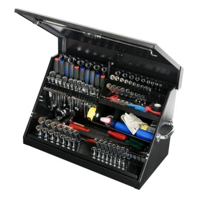 30 in. 0-Drawer Portable Tool Box in Black Powder Coated