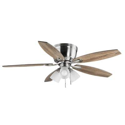 Sidlow 52 in. Indoor LED Brushed Nickel Hugger Dry Rated Ceiling Fan with 5 QuickInstall Reversible Blades and Light Kit