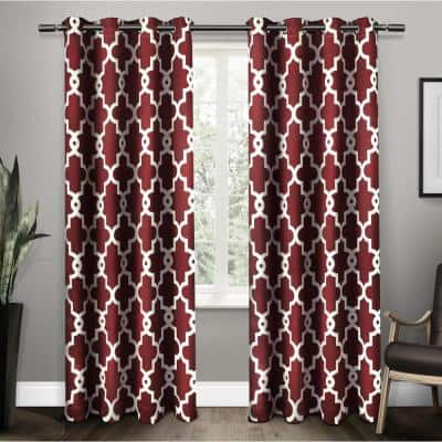 Burgundy Trellis Thermal Blackout Curtain - 52 in. W x 84 in. L (Set of 2)