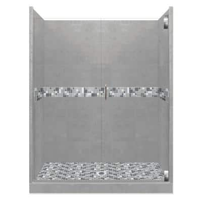 Newport Grand Hinged 36 in. x 54 in. x 80 in. Center Drain Alcove Shower Kit in Wet Cement and Chrome Hardware