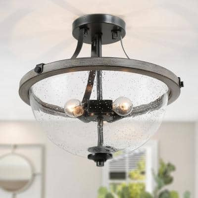 Choni 13 in. 3-Light Black Heirloom Bronze Semi Flush Mount Ceiling Light with Faux Wood Accents