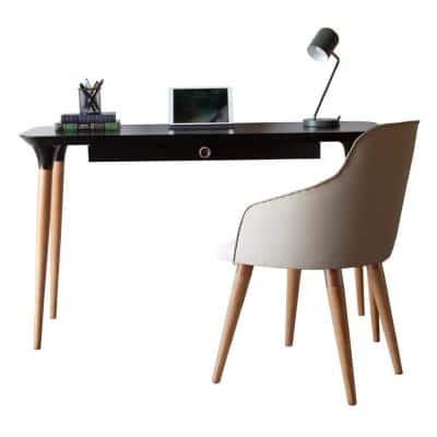 HomeDock Black Office Desk and Martha Beige Accent Chair Set