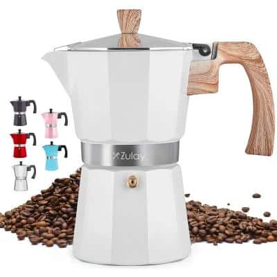 Zulay Classic Stovetop Espresso Maker for Great Flavored Strong Espresso, 5.5 Cup - White