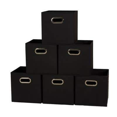 11 in. x 11 in. x 11 in. Black Fabric Collapsible Cube Storage Bins (6-Pieces Set)