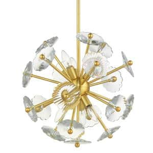 Floret 6-Light Satin Brass Chandelier with Clear Crystal Accents